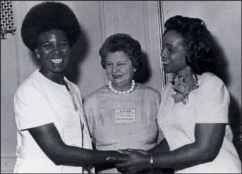 Artist Nell Painter (left) with Coretta Scott King (right) and former AAUW President Anne G. Pannell (middle) in 1969.