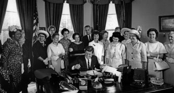 AAUW members with President Kennedy