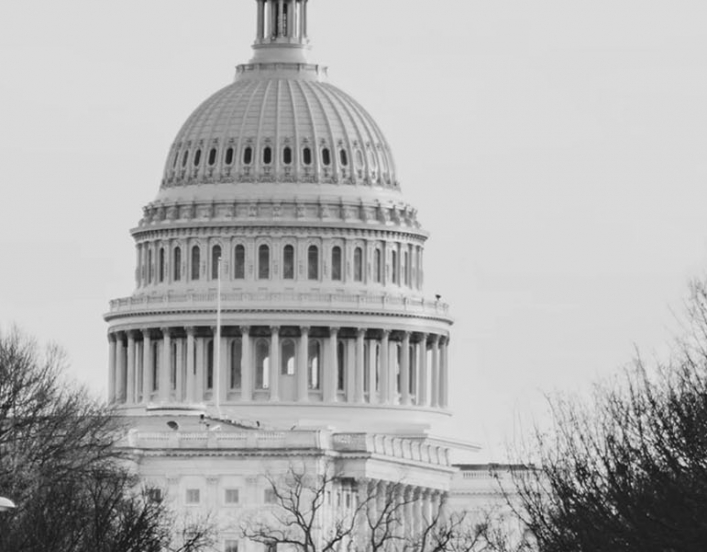 black and white photo of the US Capitol