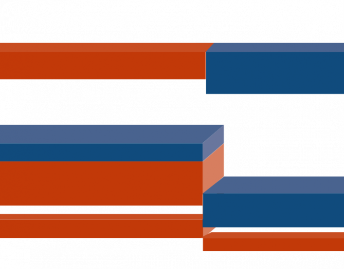horizontal bars in orange and blue (decorative)