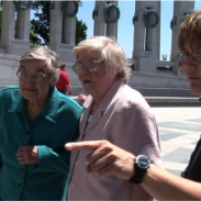 Photo of women participating in a tour of World War II Memorial in Washington, D.C.