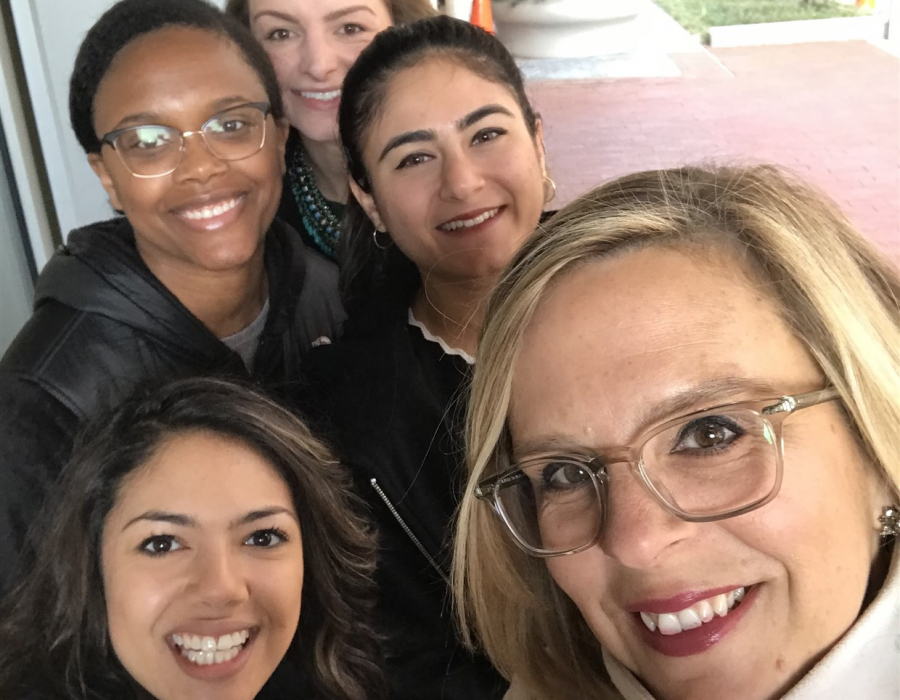Kim Churches CEO AAUW with colleagues and interns