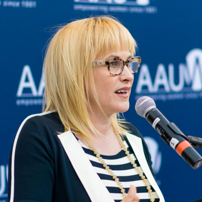 Award-winning actress and equal pay advocate Patricia Arquette speaking at AAUW's 2016 Equal Pay Day event.
