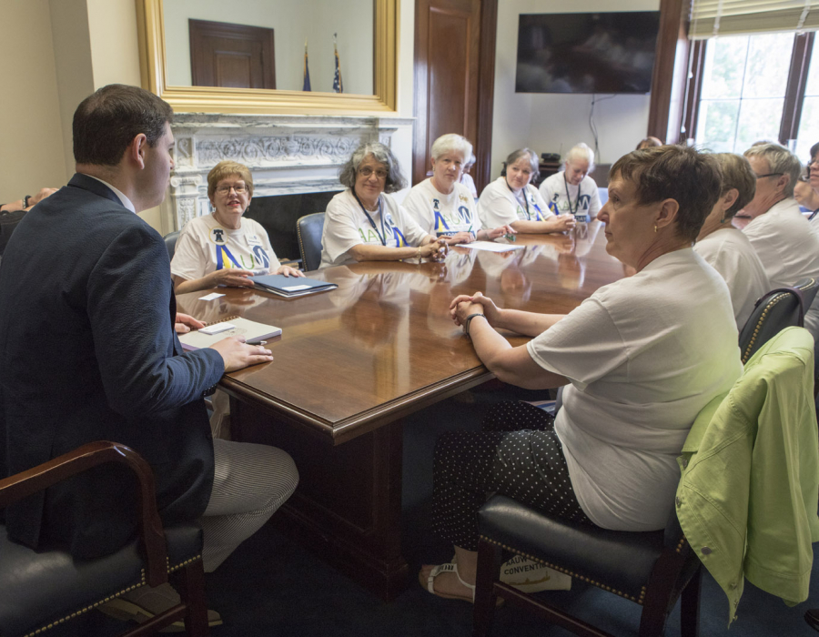 AAUW Pennsylvania members meet with their senator's aide during AAUW's 2017 Lobby Day.