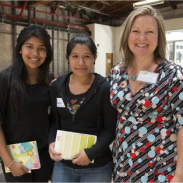 Photo of two young women and a mentor taking part in WriteGirl, a 2009-10 Community Action Grantee
