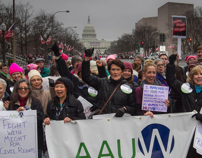 group of AAUW supporters at the women's march in January of 2017