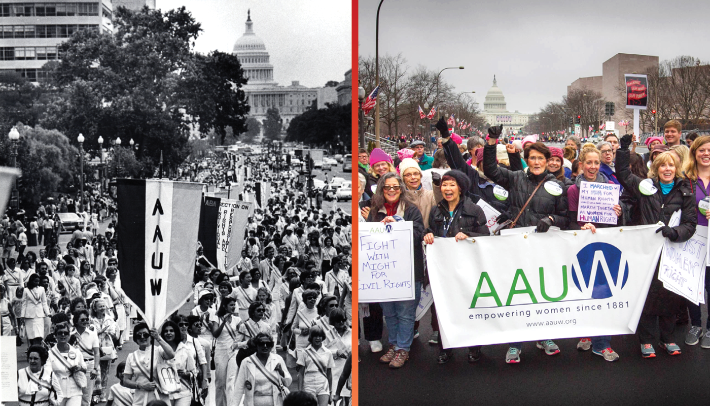 Side by side photo comparison of AAUW members at protest march in Washington, D.C. in the 1970s and a present-day photo of AAUW members at the 2017 Women's March on Washington.