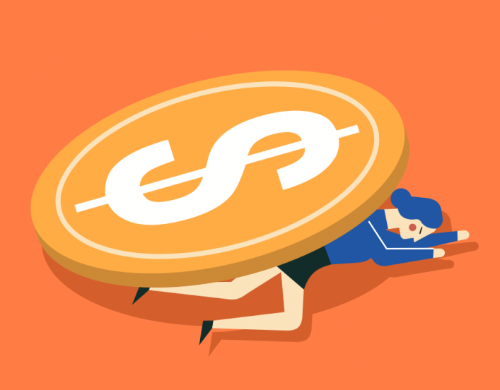 Graphic of woman crushed by big circle with dollar sign on it
