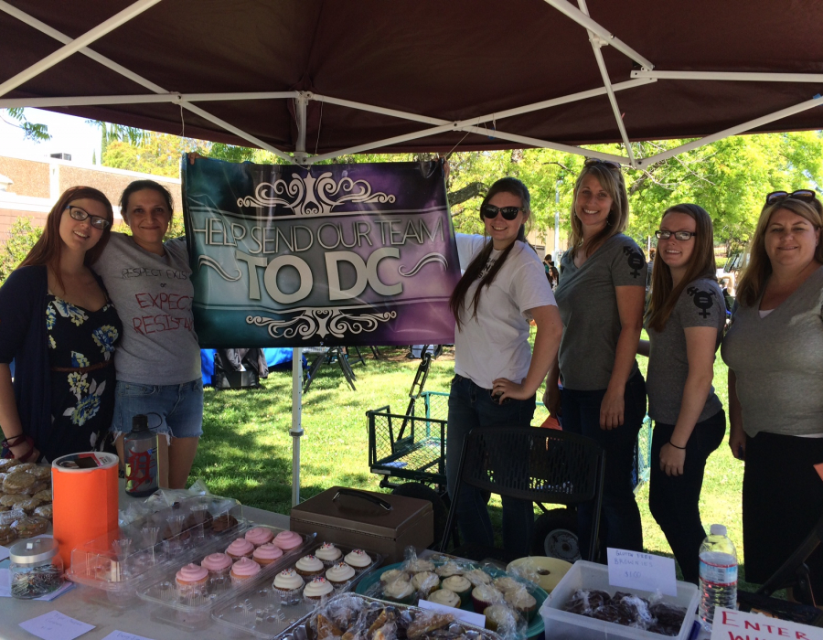 Women selling cupcakes at an AAUW fundraiser at Sierra College