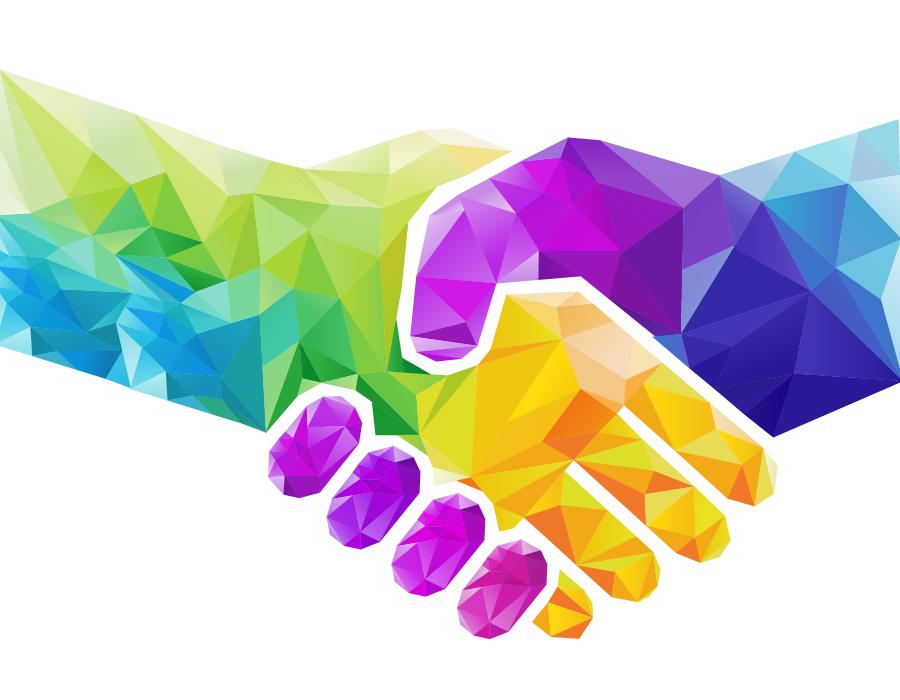 Artistic illustration of handshake.