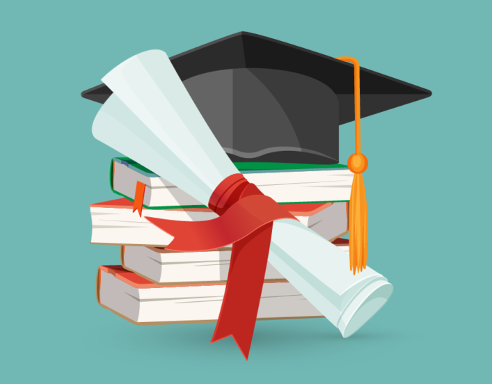 Illustration of a graduation cap and diploma on top of a stack of books.