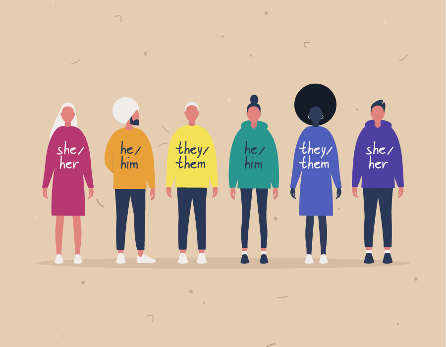 Illustration of a group of diverse people with different pronouns written for