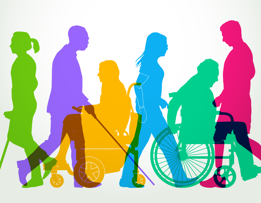 a colorful illustration of people with varying abilities moving along a pathway
