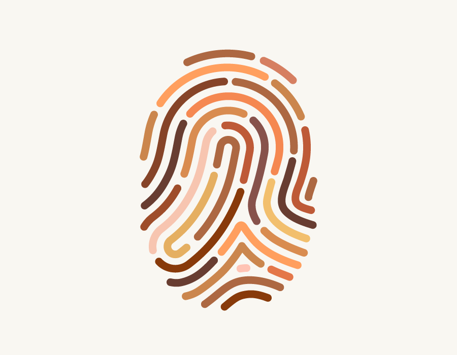 Illustration of fingerprint with different skin tones.