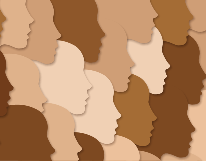 Illustration of face silhouettes in diverse skin tones.