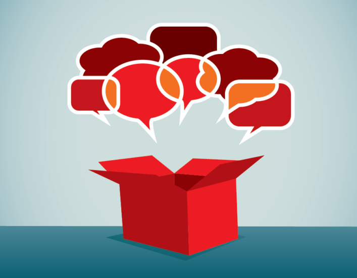 Illustration of cluster of speech bubbles coming out of a red box.