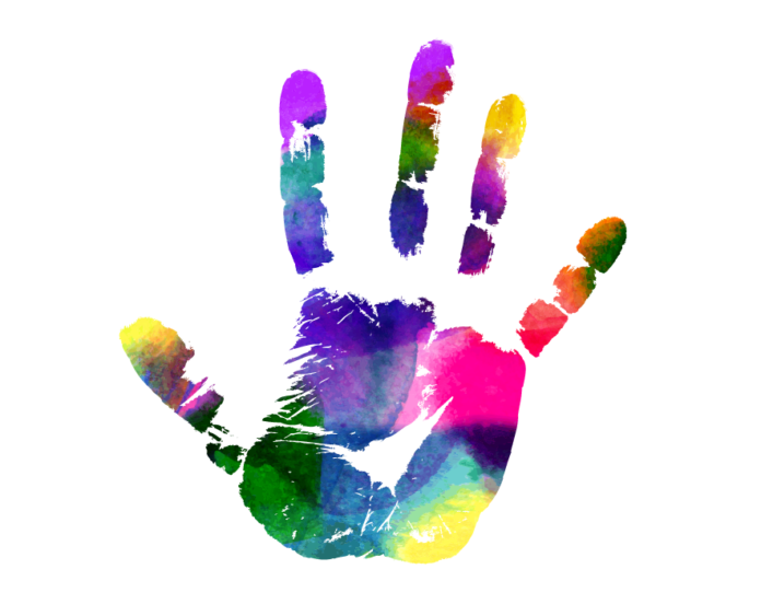 Multicolored handprint.
