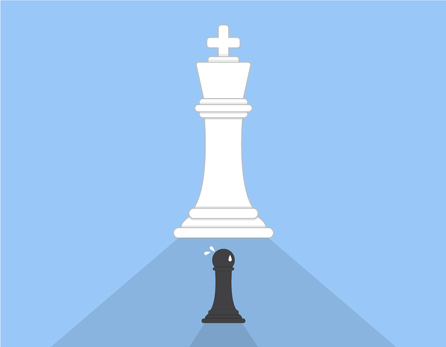 Illustration of a large white chess king scaring a small black chess pawn.
