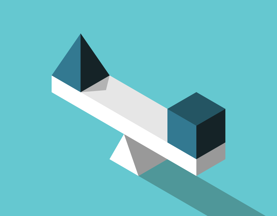 Illustration of a balanced scale with a cube on one end and a pyramid on the other.