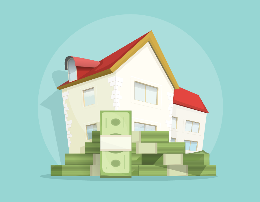 Illustration of a pile of cash in front of a nice house.