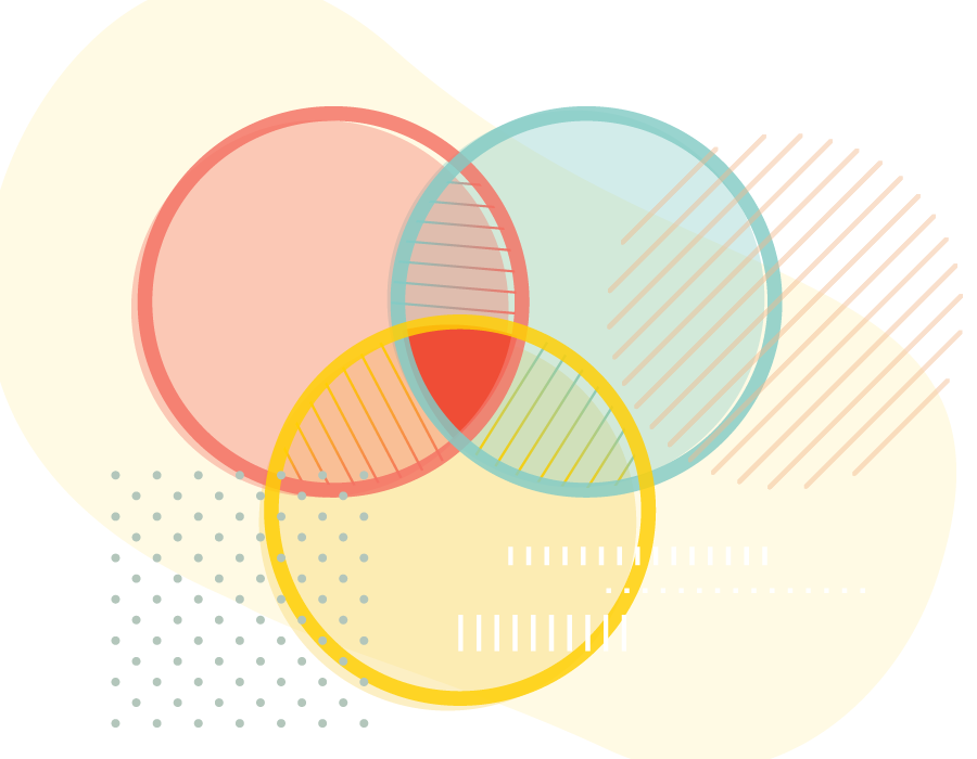Abstract illustration of overlapping different colored shapes and patterns.