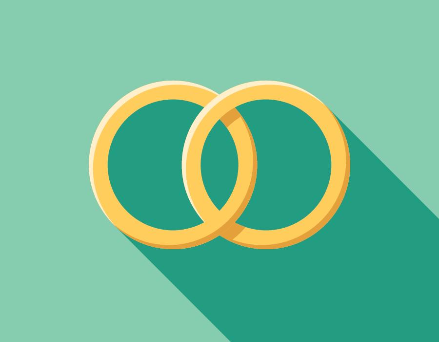 Illustration of two linked wedding bands.