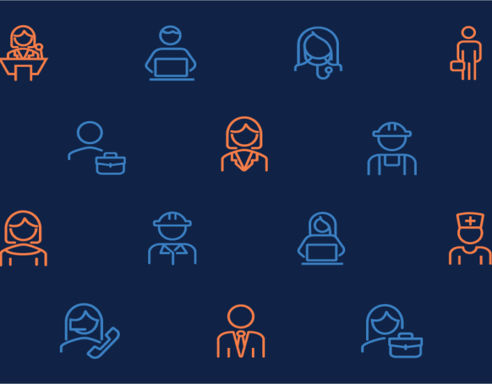 Illustration of icons representing various professions.