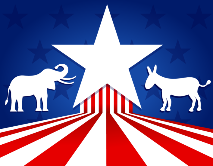 a red/white/blue picture of elephant and donkey to depict Republican and Democratic ideologies.