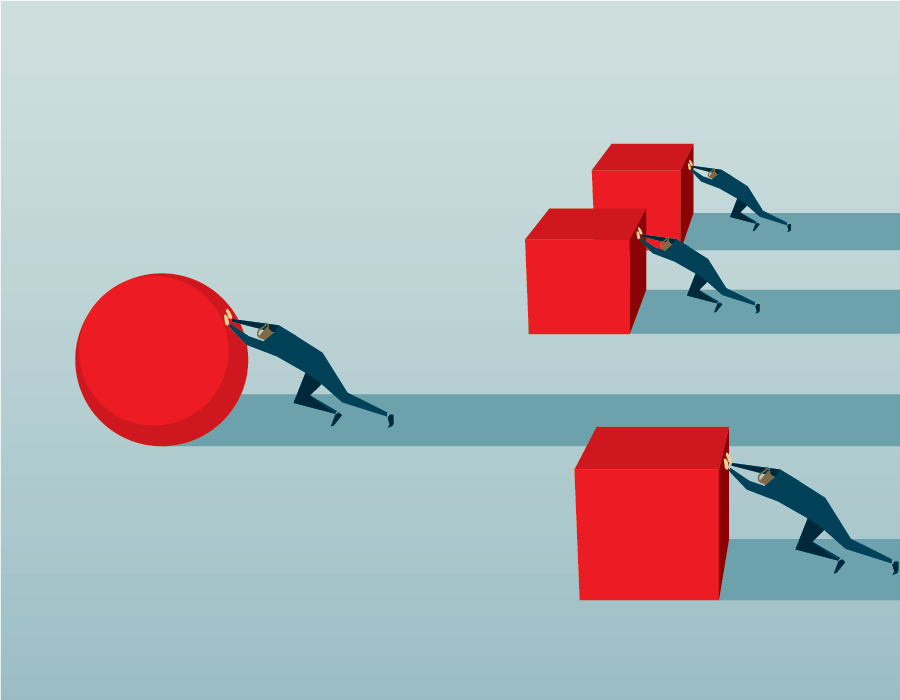 Illustration of a group of people each trying to push a large cube, while one person is far ahead pushing a large sphere.