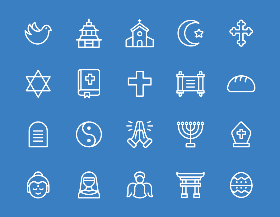 an illustrations of sacred symbols from the world's major religions