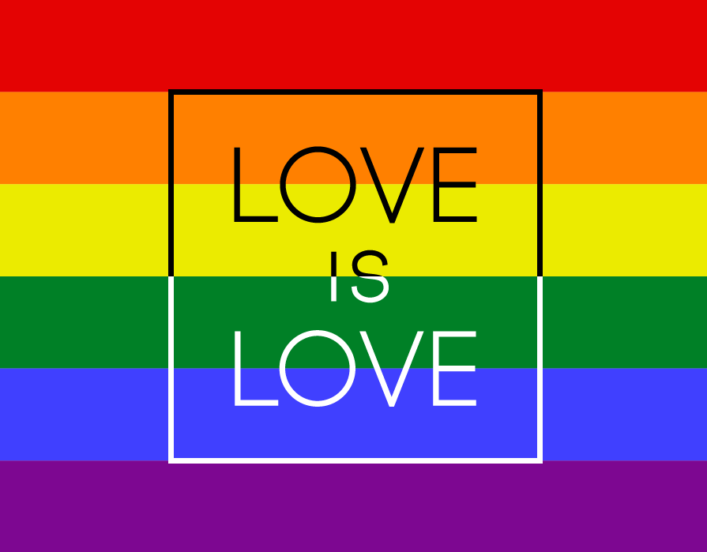 A rainbow flag with the word Love is Love on it. To illustrate sexual orientation