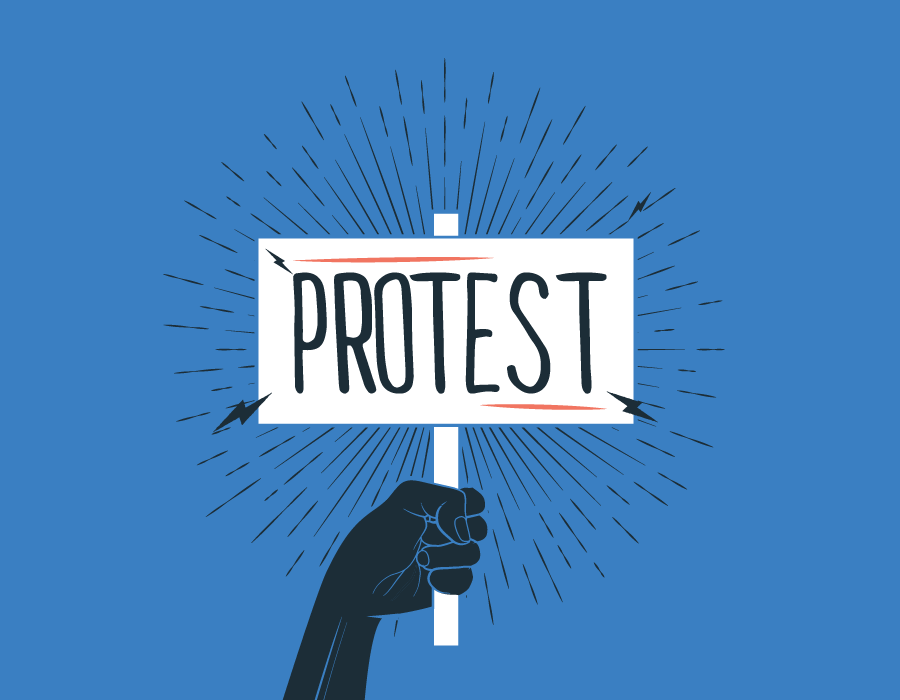 Illustration of a fist holding a sign that says