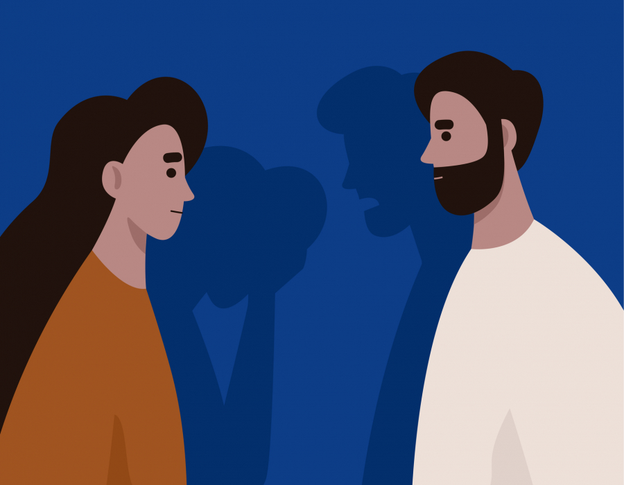 Illustration of a man and a woman talking but their shadows show the man yelling and the woman crying.