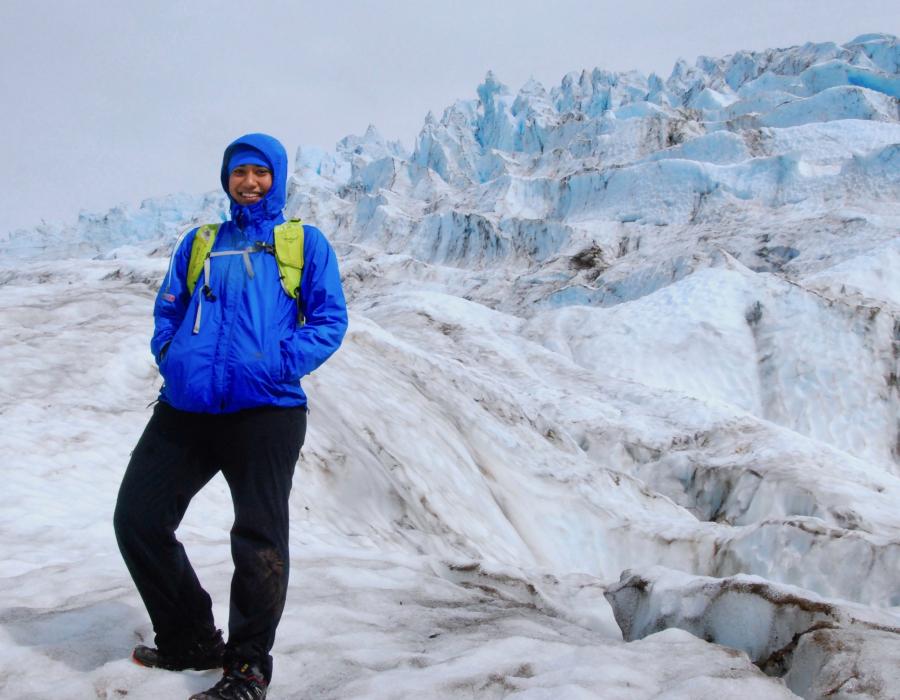 Photo of 2019-20 AAUW International Fellow Elizabeth Devan-Song in the snow.
