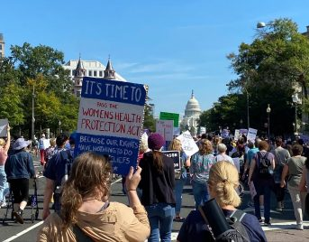 Photo of the backs of marchers holding signs in DC with the capitol building in the distance.